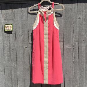 Ann Taylor Salmon Pink Shift Dress w/ Keyhole Neck